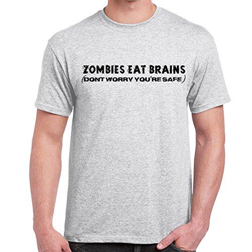 Herren Lustige Sprüche coole fun T Shirts-Zombies Eat Brains tshirt-Ash Grey-Medium (Ash Alter Grey-t-shirt)