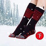Hifutre Beheizbare Socken,Elektrische Sock Sport Geheizte warme Socken,aufladbare Lithium-Batterie,justierbare Temperatur, für Mann und Frau(Schwarz)