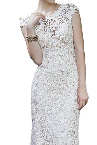 Milano Bride Elegant Damen Rundkragen Spitze Hochzeitskleider Brautkleider Brautmode Etui-linie mit kleine Schleppe Lang40-Elfenbein - 3