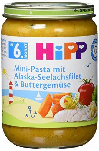 Hipp Mini-Pasta mit Alaska-Seelachsfilet und Buttergemüse, 6er Pack (6 x 190g)