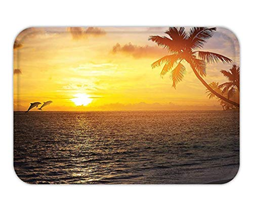 Trsdshorts Doormat Palm Tree Ocean Decor Tropical nd Beach and Sunset DolphinPrint Bedroom Living KidGirlBoyRoom Dorm Accessorie Slate Grey Blue Gold.jpg -