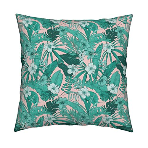 Andrea1Oliver Tropical Home Decor Decorative Pillow Miami Beach Aqua Peach by Shopcabin Square Catalan Throw Pillow by Roostery with Spoonflower - Miami Peach