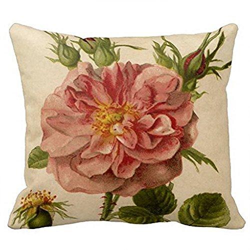 DDG EDMMS Taie d\'oreiller Décoration Chambre Salon Imprimer à Belle Fleur  De Style Vintage Rose Housse de Coussin en Coton et Lin Taille 45 * 45