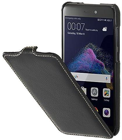 StilGut UltraSlim Case Hülle Leder-Tasche für Huawei P8 lite 2017. Dünnes Flip-Case vertikal klappbar aus Echtleder für das Original Huawei P8 lite 2017,