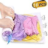 Reise Vakuumbeutel für Kleidung Rollen per Hand,16 Stück, Aufbewahrungsbeutel,3 Größe,Keine Pumpe benötigt, 6 * 35cm*50cm + 6 * 40cm*60cm + 4 * 50cm*70cm
