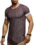 LEIF NELSON Herren T-Shirt Rundhals Ausschnit Sweatshirt Longsleeve Basic Shirt Hoodie Slim Fit LN6356; XXL, Bordeaux