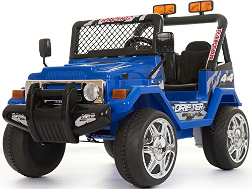 Price comparison product image Kids 2 Seater 12v Electric / Battery Ride on Car / Wrangler Style Jeep 4X4 Blue