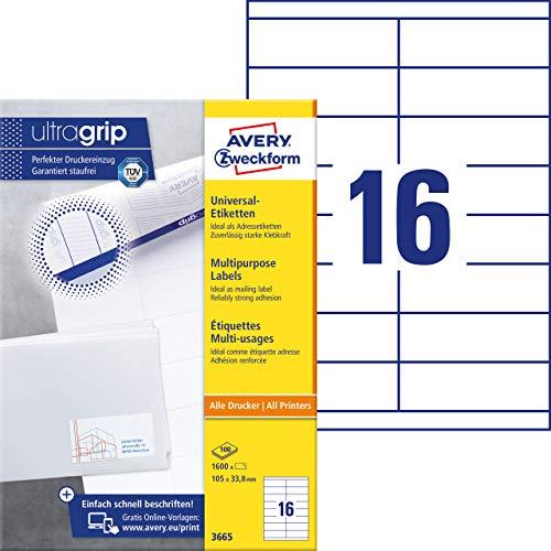 AVERY Zweckform 3665 Adressaufkleber (mit ultragrip, 105 x 33,8 mm auf DIN A4, Papier matt, bedruckbare, selbstklebende Adressetiketten, 1.600 Klebeetiketten auf 100 Blatt) weiß - 1600 Inkjet