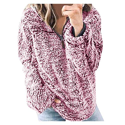 Xmiral Pullover Damen Plüsch Weich Fleece Mantel Sweater Bluse Herbst Winter Künstlich Strickjacke Outwear Elegant Dick Warm Bluse Sweatshirt Mantel(e Rot,L)