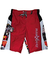 Boys Red Cargo Graphic Swim Trunks Board Shorts