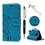 Beauty Health Grocery Best Deals - HTC One M9 Flip Case - Lanveni Butterfly Flowers Embossed Premium PU Leather Magnetic Flip Wallet Cover with Detachable Hand Strap & Card Slots & Stand Function for HTC One M9 + 1 × Blue Eiffel Tower Anti Dust Plug + 1 × Stylus Pen ( Blue )