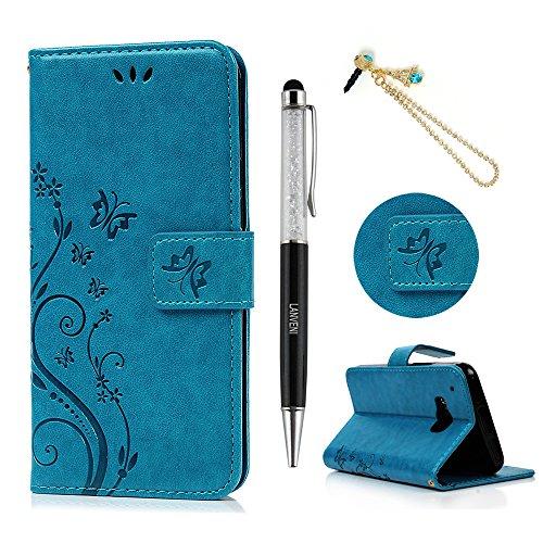 HTC Uno M9funda–Lanveni mariposas y flores en relieve Premium de piel sintética...