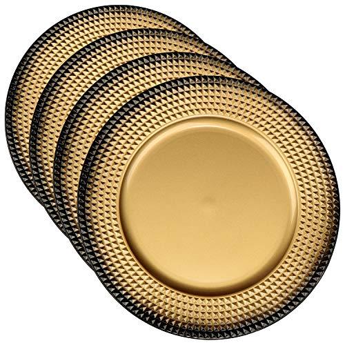 com-four® 4x Platzteller goldfarben aus Kunststoff - Adventskranzteller für Weihnachten - Dekoteller für Hochzeiten und Familienfeste