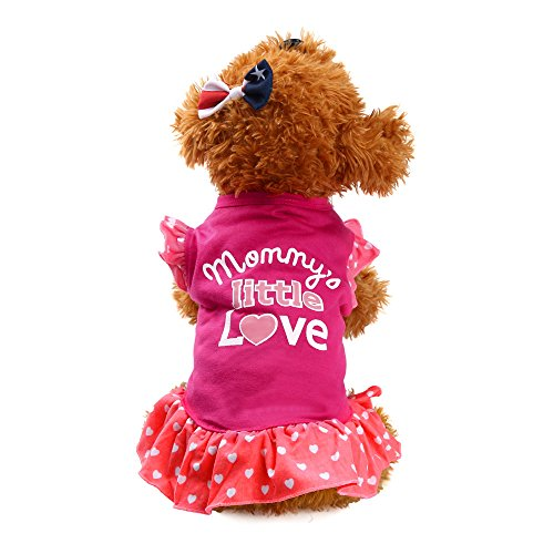♥ Loveso ♥ -Huastier Hunde 2017 Sommer Haustier Welpen Kleiner Hund Fliegen Hülsen Buchstabe Muster Kleid Kleidung (XS, Hot Pink) (Mops Kostüme 2017)