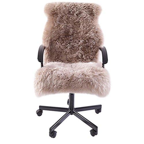 VIGKO Flauschige Stuhlabdeckung Schaffell Teppich Supersoft Sitzbezug Shaggy Wurf Bodenmatte Teppich, Coffee (Für Lkw Schaffell Sitzbezüge)