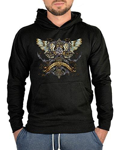 Sweatshirt mit Kapuze - Hoodie Biker Aufdruck: Kreuz mit Flügel - mystisches Gothic Motiv