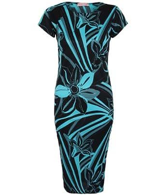6008-TUR-ML: Large Floral Print Short Sleeve Stretch Bodycon Pencil Midi Dress
