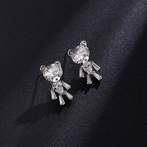 Mayanyan Lady Mode Einfach süß 925 Reines Silber Nadel Kleine Bär Zirkon Ohrringe