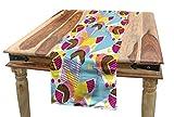 ABAKUHAUS Pastell Tischläufer, Pop Memphis 80er Jahre Stil, Esszimmer Küche Rechteckiger Dekorativer Tischläufer, 40 x 225 cm, Mehrfarbig