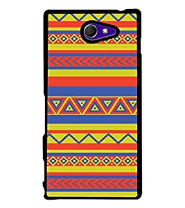 PrintVisa Designer Back Case Cover for Sony Xperia M2 Dual :: Sony Xperia M2 Dual D2302 (Colourfull Zigzag Fabric Pattern)