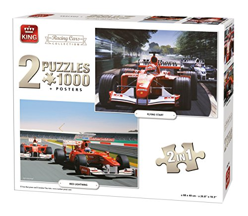 King Racing Cars Collection 2in1 Racing Cars Puzzle - Rompecabezas (Puzzle Rompecabezas, Deportes, Adultos, Ivan Berryman, Hombre/Mujer, 8 año(s))