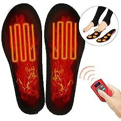 Bilisder Semelles Chauffante Réchauffeur de Pieds Electrique Rechargeable avec 3 Réglages de Chaleur et Télécommande sans Fil pour Hommes, Femmes (L)