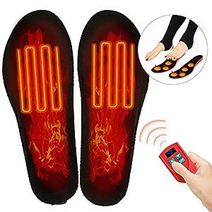 Beheizbare Einlegesohlen Elektrisch Fußwärmer wiederaufladbar mit 3 Warmstufen und Funkfernbedienung fur Herren Damen