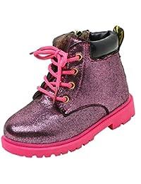 Koly Moda Niños niñas Inglaterra Martín Sneaker Invierno Grueso Nieve Bebé Casual corto Zapatos para bebé Corto Botines Cremallera infantiles zapatos bebe baratos Footwear unisex (28, Purple)
