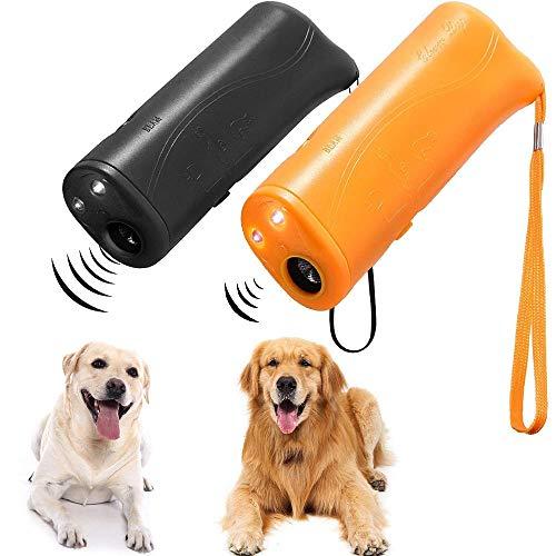 Forepin Répulsif pour Chien Anti-Aboiement Ultrason Dressage 3 en 1 à ultrasons pour Animal Domestique avec LED Lampe de Poche Portable 2 Pcs Noir et Jaune