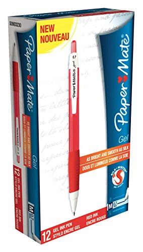 Paper Mate S0903230 Silkwriter Gelschreiber, mittlere Spitze, 0.7 mm, 12er-Box, rot - Paper Mate Rot