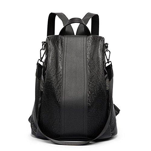 YTTY Lammfell Weichen Rucksack Traf die Farbe College-Studenten Tasche Wilden Einfachen Rucksack Mode Handtaschen, schwarz -