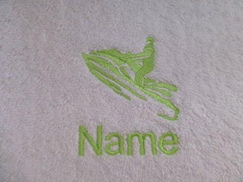 Weiß Baby Bademantel mit Kapuze oder weiß Kapuzentuch mit einem Jet Ski Logo und Namen Ihrer Wahl., 100 % Terry-Baumwolle, weiß, Baby Robe 0-9 months
