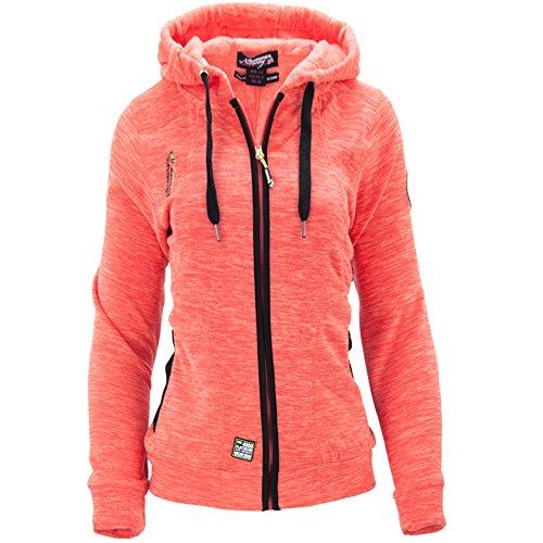 Geographical Norway Damen Fleece Jacke Fleecejacke Pullover Kapuze Gr 36 S coral (Warme Pullover Jacke Roten)