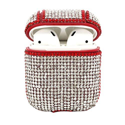 Airpods Kopfhörer Cover, Mamum, Bling Luxurious Diamonds Cute Schutzhülle Case (Einfarbiger Diamant) (Rot)