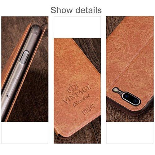 iPhone Case Cover MOFI VINTAGE pour iPhone 7 Plus Crazy Horse Texture Boîtier en cuir flip horizontal avec slot pour carte et support ( Color : Dark Blue ) Brown