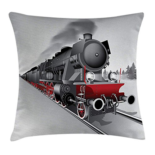 Steam Engine Throw Pillow Cushion Cover, Locomotive Red Black Train with Headlights on Steel Railway Track Graphic Print, Decorative Square Accent Pillow Case, 18 X 18 Inches, Red Grey