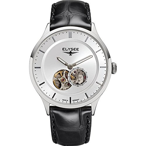 ELYSEE Men's Nestor 40mm Black Leather Band Steel Case Automatic Silver-Tone Dial Analog Watch 15100