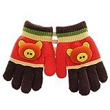 YL Story Niedlich Cartoon-Schwein Kinder Winter Handschuhe Warme Gefütterter Schätzchenkleinkindmädchen Handschuhe Für 0-3 Jahre Alt Kaffee