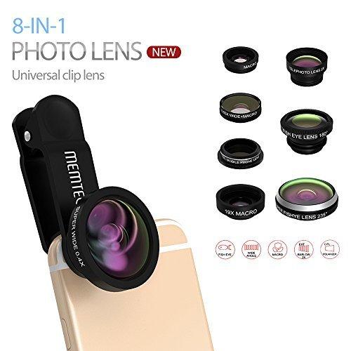 MEMTEQ® Fish-eye + Wide Angle + Objectif Macro + lentilles Téléconvertisseur + CPL Appareils Mobiles Caméra pour tous les Smartphones et iPad (Lentille 8en1, Noir)