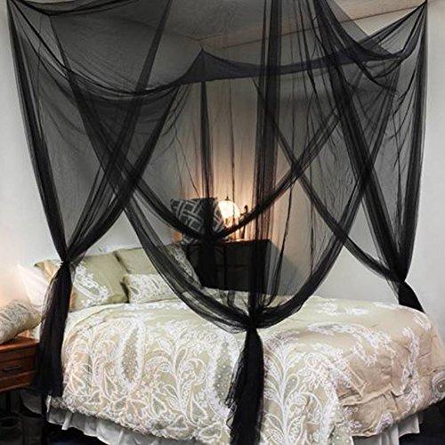 Moskitonetz Bett Doppelbetten Riesig Indoor Outdoor Travel Fliegennetz Mückennetz Insektennetz Spitze Betthimmel Insekten Malaria Schutz mit Vier Öffnungen Insektenschutz 200x210x240mm (Schwarz) (Moskitonetz Für Bett Schwarz)