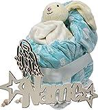 Geschenk zur Geburt mit Namen Windeltorte Kinderwagen neutral für Mädchen Junge Set mit Nachtlicht Schlummerlicht I Windel Babyparty