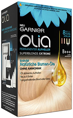 Garnier Olia Haar Aufheller B+++ Ultra Bleach superblonds extreme, Haar Coloration bis zu 8 Stufen Aufhellung (mit natürlichen Blumen-Ölen) Ohne Ammoniak - 3er Pack (3 x 1 Stück) Test