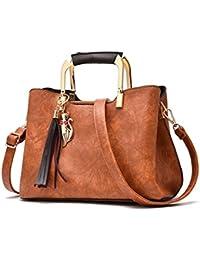 1943e660a0ebb Frauen Vintage Leder Handtaschen Umhängetasche Frauen Quaste Tote Bag  weiblichen Leder Damen Hand Tasche Crossbody Taschen…
