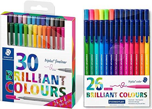 Staedtler Fineliner triplus (30 brillante Farben) + Staedtler Triplus Color Etui mit 26 farblich sortierten Fasermalern