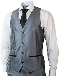 Herren Shiny Grau 3 Stück Anzug Schwarz Trim Einbau Hochzeit Prom 1 Button