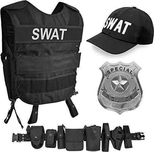normani SWAT Kostüm bestehend aus Weste mit passendem Patch, Einsatz-Gürtel, Cap, US Abzeichen [XS - 6XL] für Damen und Herren Größe M/L