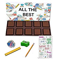 BOGATCHI All The Best Chocolate Gift for Exams, 10pcs Dark Chocolate + Free Good Luck Card + Exam Kit for Kids