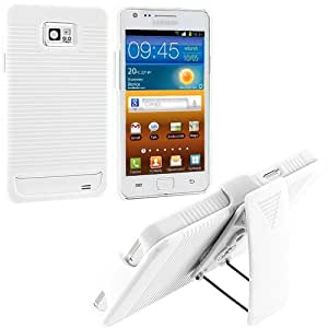 White Slide Case With Belt Clip Swivel Holster Stand for Samsung Galaxy S2 i9100 / Attain i777