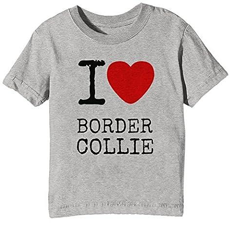 I Love Border Collie Dogs Enfants Unisexe Garçon Filles T-shirt Cou D'équipage Gris Manches Courtes Taille S Kids Unisex Boys Girls Grey Small Size S