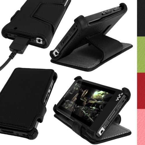 iGadgitz Black PU Leather Flip Case Cover for Sony Walkman NWZ-F880 NWZ-F886 NWZ-F887 F-Series Video MP3 Player with Viewing Stand + Screen Protector  available at amazon for Rs.1569